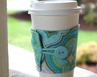 Reusable Coffee Sleeve / Coffee Cozy - Reusable Coffee Shop Cup Sleeve - Teal, Grey, and Yellow Medallions