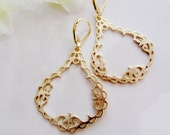 Gold Hoop Filigree Earrings - Minimalist Modern, Moroccan, daily wear