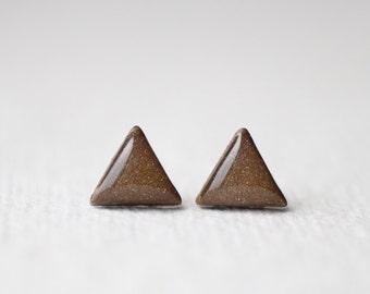 Geometric Triangle Brown Stud Earrings  - BUY 2 GET 1 FREE