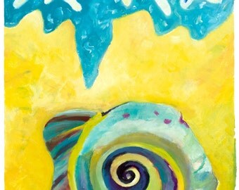 Vibrant,  Psychedelic beach with almost abstract spiral shell. Limited Edition print one of only 25. FREE world postage
