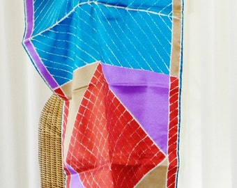 Vera 1960s Scarf 43 Inches Long Geometric Design Teal Rust White Purple Gold by Voila Vintage Lingerie