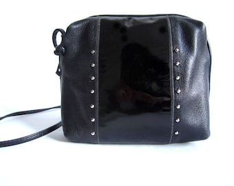 Black Biker Leather Purse with Patent Leather accented, studs and long straps (S)