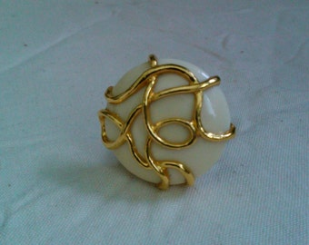 Handmade Vintage 80's Big Abstract Design Button Adjustable Ring