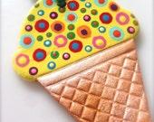 Yellow Ice Cream Ornament