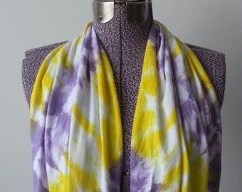 Tie Dye Infinity Scarf -- Lemon Yellow and Lavender
