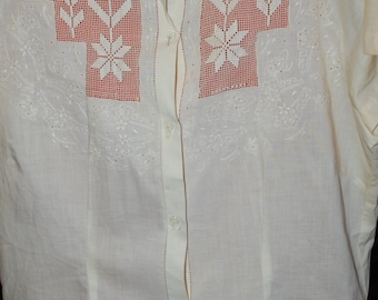 40s, 50s Blouse, Embroidered, Cotton, Drawn Work, Shirt, Tea Color, Size Medium