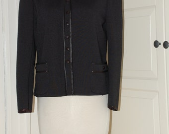 60s Black Flat Knit Jacket, Sweater with Jet Buttons, Satin Trim from Butte Petites, Size S/M