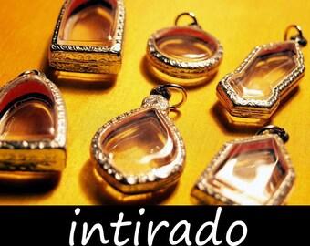 Blank Locket, Display Case, Art Craft Supplies, Intirado, Reliquary, Terrarium, Clear Locket Pendant, Pendant Tray, Engraved, 6pcs