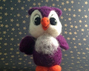 Felted Owl in Eggplant Purple
