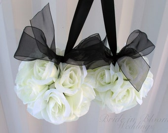 Wedding flower girl pomander Black white Wedding decorations Ceremony Aisle pew markers