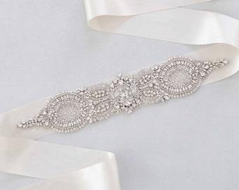 Bridal Sash, Wedding Belt, Swarovski Sash, Crystal Sash, Jewelled Sash, Crystal Belt,Swarovski Sash, Gown Sash- Barbara