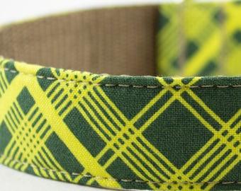 Green Vintage Plaid Dog Collar