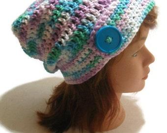 Summer Slouchy Hat Button Tab Beanie Beach Hat Summer Beanie Cotton Slouchy Hat Crochet Beach Hat Ombre Beanie