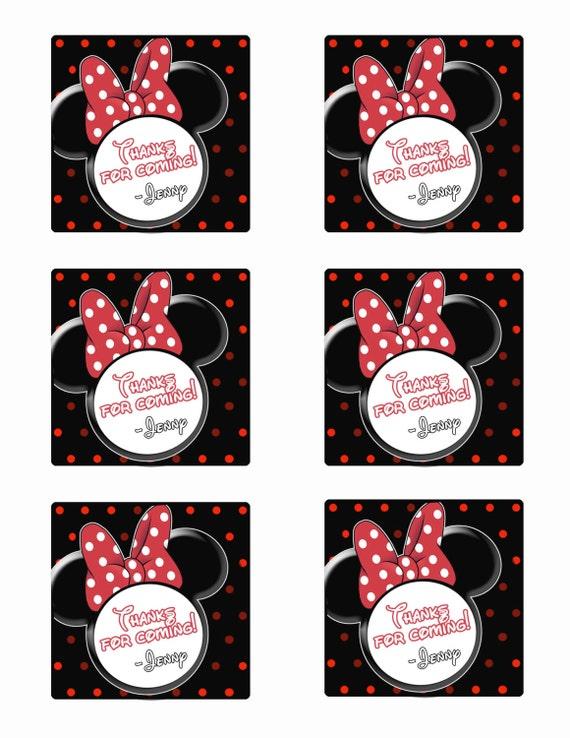 Amato Minnie Mouse bomboniera Topolino favore etichette tag stampa XG37