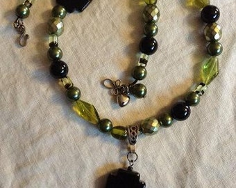Olive Green and Black and Necklace with Dangle
