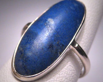 Antique Lapis Ring Victorian Arts and Crafts White Gold