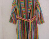 Vintage Emanuel Ungaro Mens Spa Beach Bathrobe Striped Terry Velour MEDIUM Bathrobe