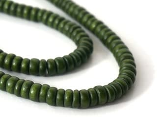 Wood Rondelle Beads, 8mm x 4mm, Forest Green, eco-friendly wooden beads (746R)