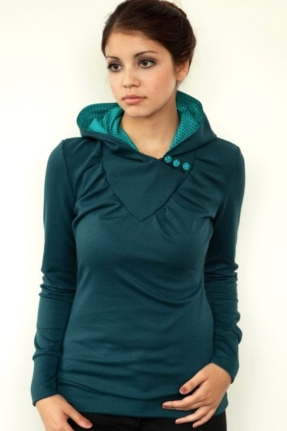 hoodie shirt - blue-turquoise - polka dots - buttons
