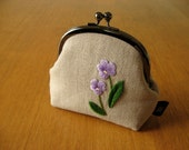 Hand Embroidered Violet Kisslock Snap Frame Pouch