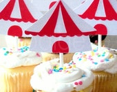 Circus Cupcake Toppers or Carvinal Cupcake Toppers - 12 - the big top collection