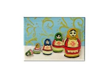 Nesting Doll Art - Matryoshka Doll Art - Original Oil Painting - Vintage Art - Kitsch Art - Home Decor - Retro Art - Retro Decor - Vintage