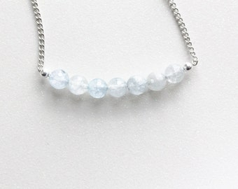 Faceted Pale Blue Ice Quartz Crystals Necklace // CLEARANCE SALE
