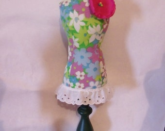 Pin Cushion Mannequin Dress Form - vintage floral fabric.