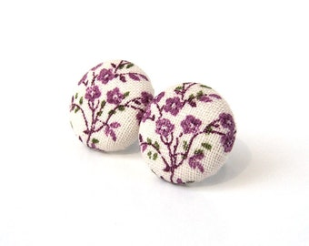Tiny purple button earrings - fabric post earrings - stud earrings white flower tree green