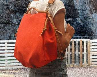Backpack in Coral Red canvas with  tan leather  accents,  called Katerina ,MADE TO ORDER