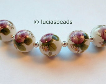 NEW PRETTY Purple Floral Japanese Tensha Beads on White 12 MM