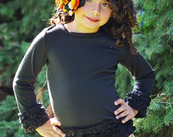 Girl's ruffled long sleeve t shirt with color options