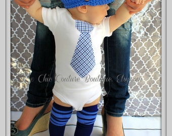 Easter Spring Baby Boy Tie Bodysuit, Baby Blue Non-Personalized Blue, Navy Plaid. 1st Birthday Outfit, Cake Smash Outfit, Coming Home Outfit