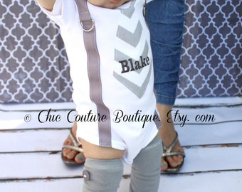 Easter Spring Baby Boy Suspenders and Personalized Tie Bodysuit. Gray Chevron, Wedding, Baby Gift, 1st Birthday, Coming Home Outfit