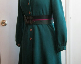 sale 1970s green dress shirtdress coatdress, wool jersey, pine green, cork and gold buttons pockets Rodrigues