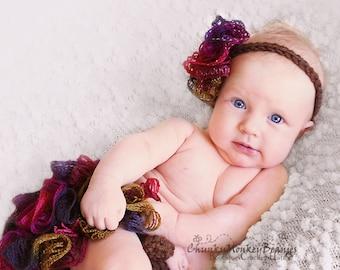 NEWBORN Baby Girl Set, Baby Girl Headband and Diaper Cover, Baby Girl Frilly Headband, Brown Diaper Cover with Ruffles, Newborn Photo Props.