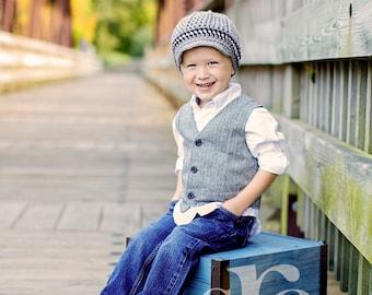 Boy Hat, 2T to 4T Toddler Boy Newsboy Cap, Boy Newsboy Hat, Gray, White and Black. Photo Props. Children Spring Clothing. Kids.
