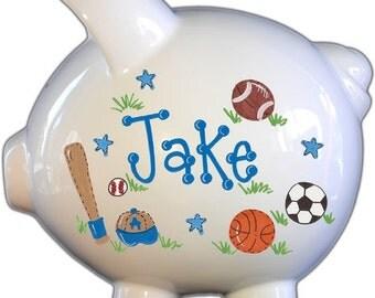 Custom piggy bank etsy boys piggy bank personalized handpainted ceramic custom banks for him nursery decor negle Image collections
