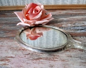 Vintage Lucite Hand Mirror Pink Roses Floral Patina Shabby Chic