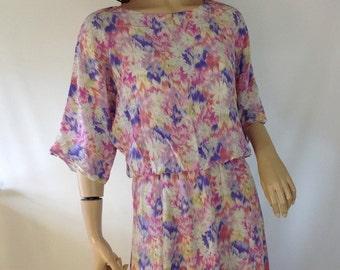 Vintage Watercolor Floral Dress  Ethereal Floaty Dress  Dolman Sleeve Dress / Midi Floral Tea Dress  / Pastel Floral Dress / Ikat Dress S  M