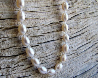freshwater pearl necklace. MAKE BELIEVE. white necklace. silver necklace. real pearls. June birthstone. star sign Cancer jewelry. timeless.