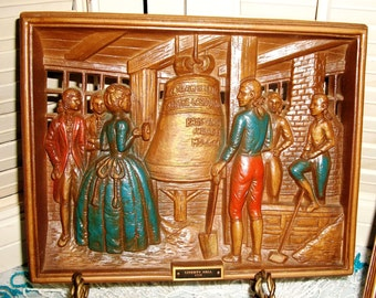 HISTORIC VINTAGE PLAQUES By  Burwood Products-  Ben Franklin 1775 & Liberty Bell 1776, Pierced Colored Raised Scenes, Awesome Americana