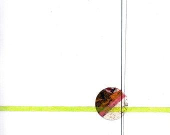 "Circle and Line 3, 8"" x 11"" small, minimalist drawing"