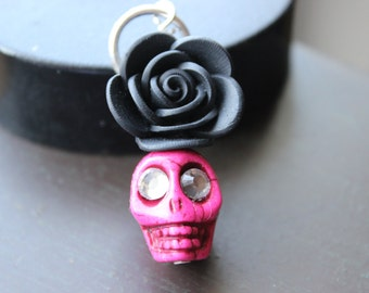 Gothic Rose and Sugar Skull Pendant Charm