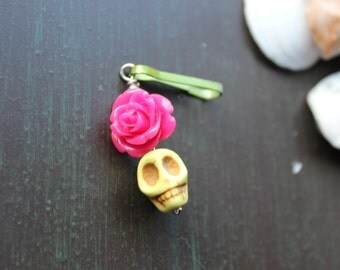 Sugar Skull and Rose Zipper Pull Charm