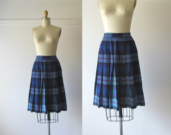 vintage 1960s plaid skirt / 60s blue plaid skirt