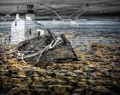 Nautical Dream of Lighthouses with flying gulls and Ship Wrecks run aground on Rocky Shores A Fine Art Surreal Fantasy Seascape Photograph
