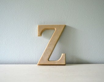 Vintage Letter Z, Ready to Paint or Stain, Hanging Wall Decor, Cream Resin Alphabet, Monogram