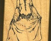 Victorian Woman Curtsy Rubber Stamp made by Rubber Monger