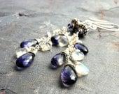 Iolite Moonstone Earrings Long Cascade Statement Earrings, Sterling Silver Gemstone Earrings
